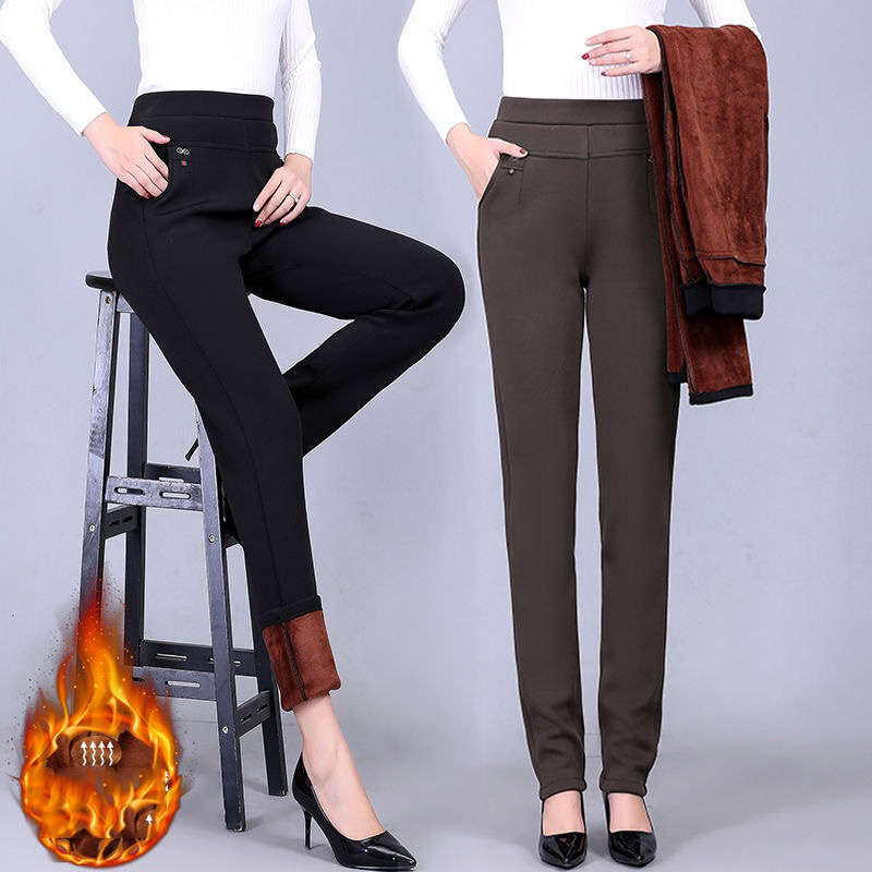 Plus Size 6XL Mom Straight Pants Hot Sale Solid Color High Waist Elastic Skinny Pants Ladies Office Autumn Winter Casual Trouser