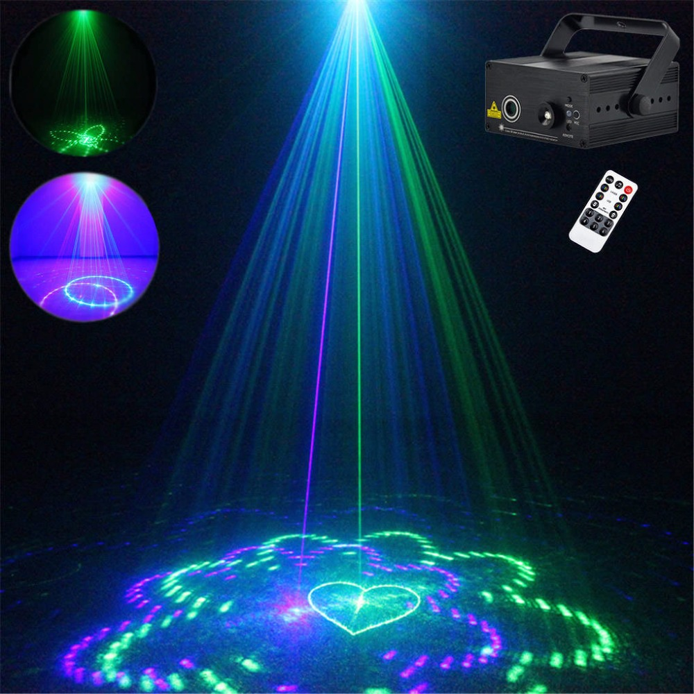 AUCD Mini 20 GB Green Blue Remote Laser Projector Light 3W Blue LED Mixing Effect DJ KTV Party Show Holiday Stage Lighting L20GB rg mini 3 lens 24 patterns led laser projector stage lighting effect 3w blue for dj disco party club laser