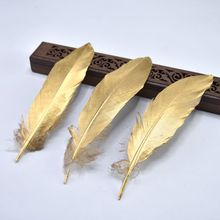 10Pcs/Lot Gold goose feather for Crafts plumas jewelry making 15-20cm DIY Natural feathe materials headdress Wedding decoration