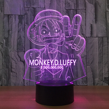 3D LED Luffy Night Light 7 Colors Changing Creative One Piece Desk Lamp Bedroom Atmosphere Anime Decor Light Fixtures Kids Gifts