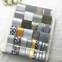 New 30M+1Y 29Style Mixed Intellectual Gray Print Satin Grosgrain Organza Ribbon Set DIY Hairpin Bowknot Hair Accessory Material