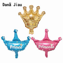 pink blue gold Crown Foil Balloons wedding decorations happy birthday party princess balloon kids toy Supplies(China)