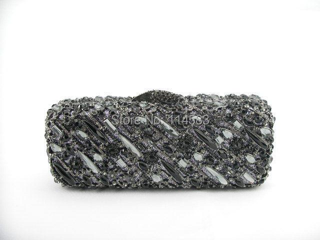 ФОТО 8227 Black & Grey Crystal Wedding Bridal Party Night hollow Metal Evening purse clutch bag handbag case
