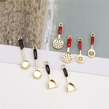 2pcs korean alloy drop oil kitchenware small spatula pan earrings for women pendant material diy fun jewelry girls accessories