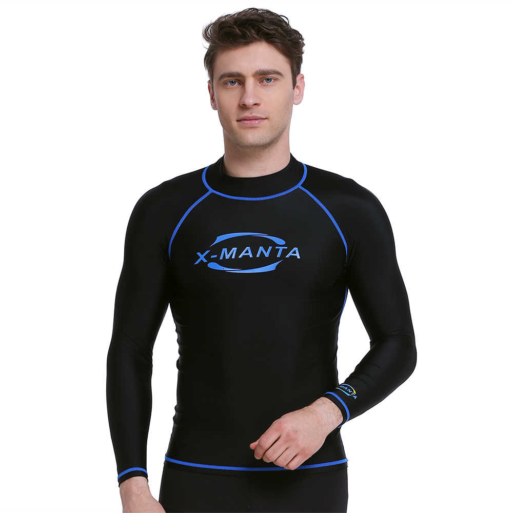 الأشعة فوق البنفسجية حماية طويلة الأكمام الغوص قميص الرجال التجفيف السريع ملابس السباحة الغوص السباحة المايوه الغوص أعلى قميص