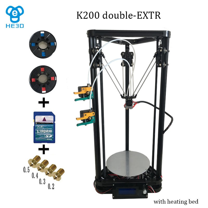 2017 New updated Reprap Dual Extruder nozzle head K200 delta 3d printer DIY kit with heatbed
