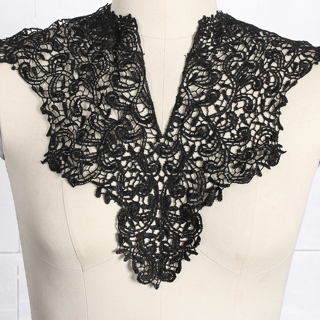 1pc Black And White Embroidery Flowers Lace Neckline Fabric Wedding Dress Collar For Sewing