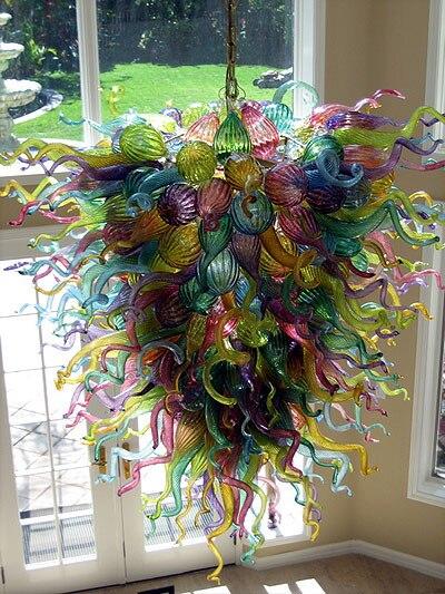 Luz colgante de cristal contemporáneo Multicolor y cristal para el hogar