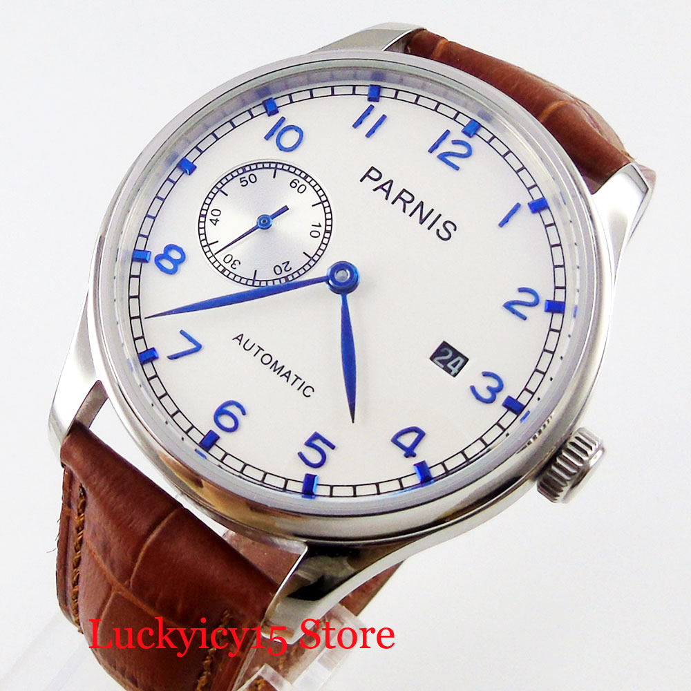 Fashion PARNIS Top Brand White Dial Date Indicator 43mm Mechanical Men's Watch Brown leather Strap|Mechanical Watches| |  - title=