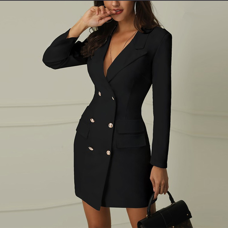 Autumn Women Elegant Blazer Dress Office Lady Black White Mini Dress Double-breasted Long Sleeve V-neck Blazer Dress