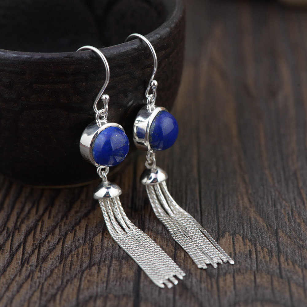 FNJ 925 Silver Tassel Earrings for Women Jewelry Lapis Lazuli Blue Stone 100% S925 Sterling Silver boucle d'oreille Drop Earring