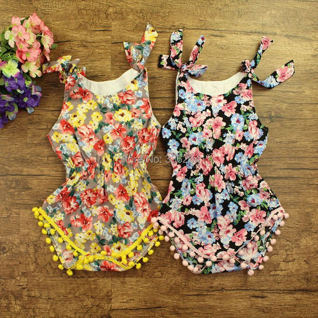 0f9ee8c1bd68 Cute Design New Style Cherry blossoms Flower Print Baby Girls Pompom Romper  Outfit