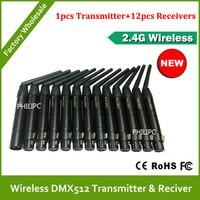 Бесплатная доставка DHL  13 шт.  DMX512 консоль  портативный беспроводной Dmx512 передатчик и приемник Dmx  беспроводной для светодиодных сценических ...
