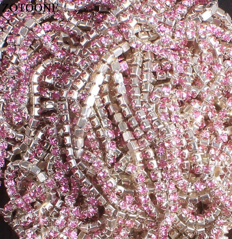 Zotoone SS10 1Yard AB Kuku Berlian Buatan Rantai Berlian Imitasi Applique DIY Crystal Potong Batu untuk Pakaian Dekorasi Menjahit Pada Pakaian tas