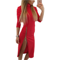 2017 Autumn Spring Bodycon Sheath Midi Dresses Women Pencil Tight Dress Solid Long Sleeve Zippers Split