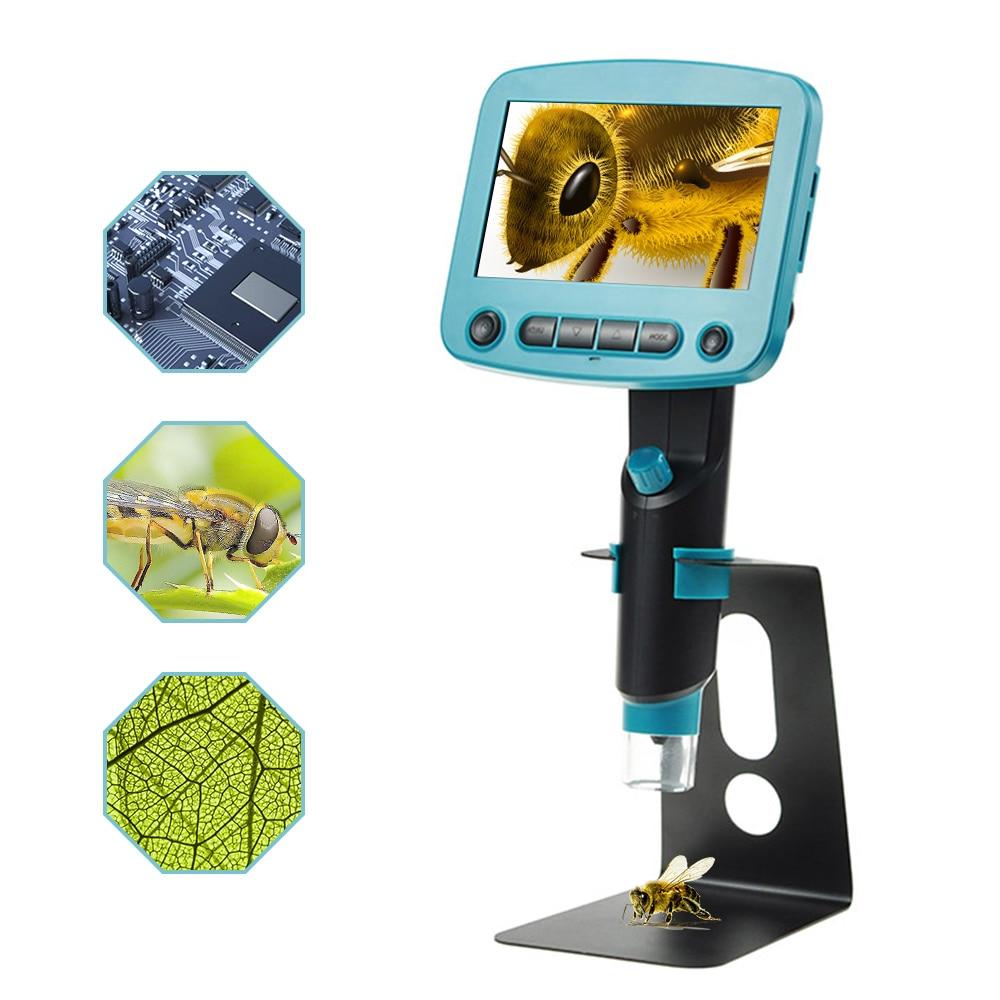 800X USB microscopio digitale A CRISTALLI LIQUIDI 4.3 pollice HD OLED Portatile 8 LED Fotocamera VGA Video microscopi di saldatura mikroskop Lente di Ingrandimento