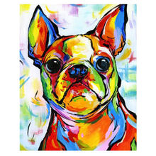 WEEN Colorful Dog Paint By Numbers Canvas For Adults Kids Beginner Kits Abstract Animal DIY Painting Number With Brushes Art
