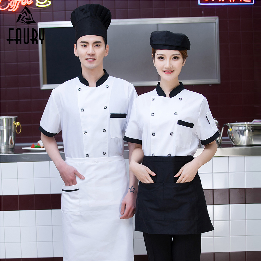 Chef Jackets Stand Collar Stitching Color Short Sleeve Summer Restaurant Hotel Work Clothes Sushi Bar Bakery Uniforms Tops