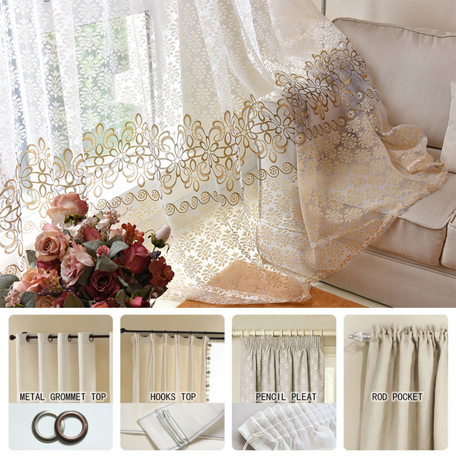 Floral Modern Sheer Tulle Curtains 6