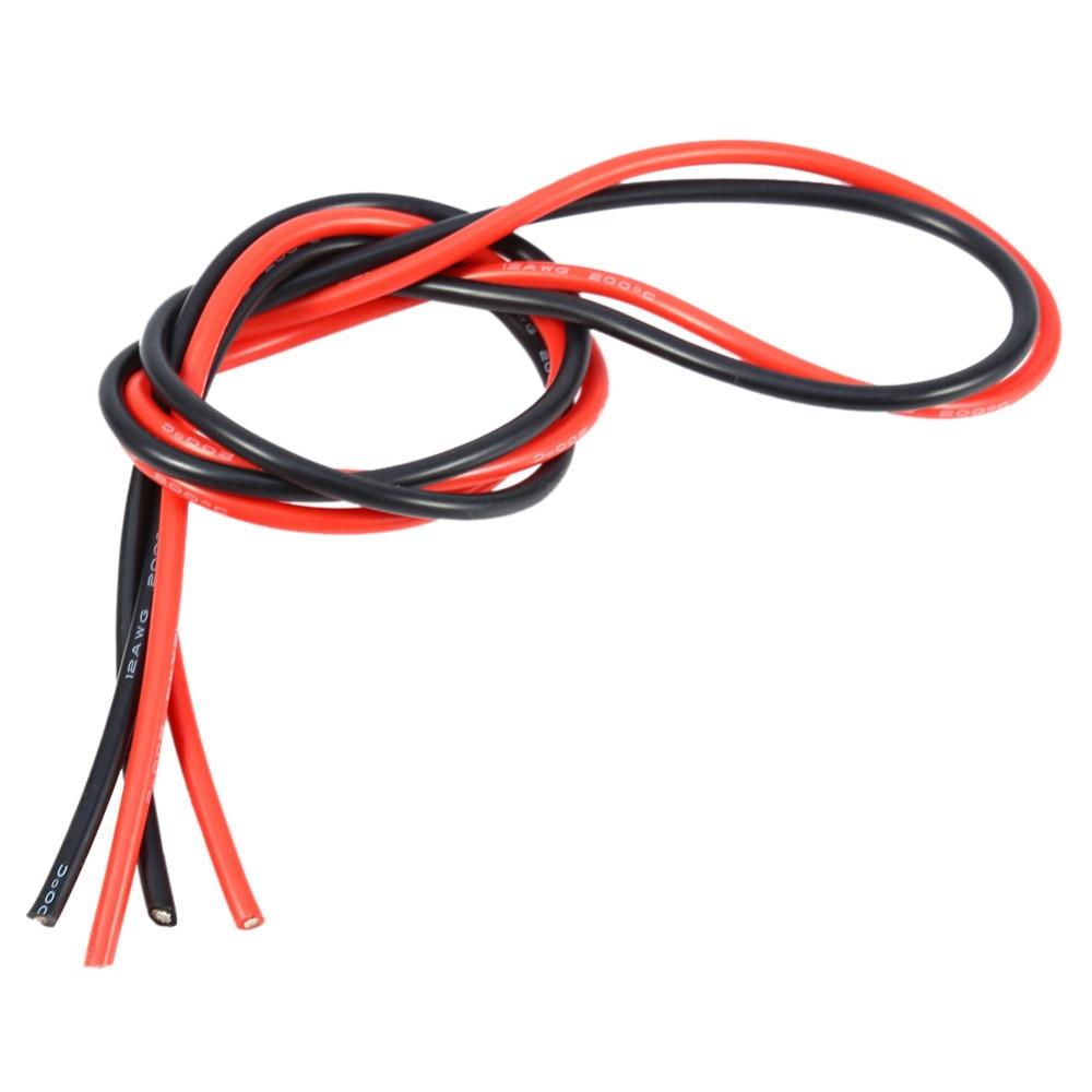Nueva 2 M (1 M Rojo y 1 M Negro) 12AWG Cable de Alambre Flexible de Cobre Estaña