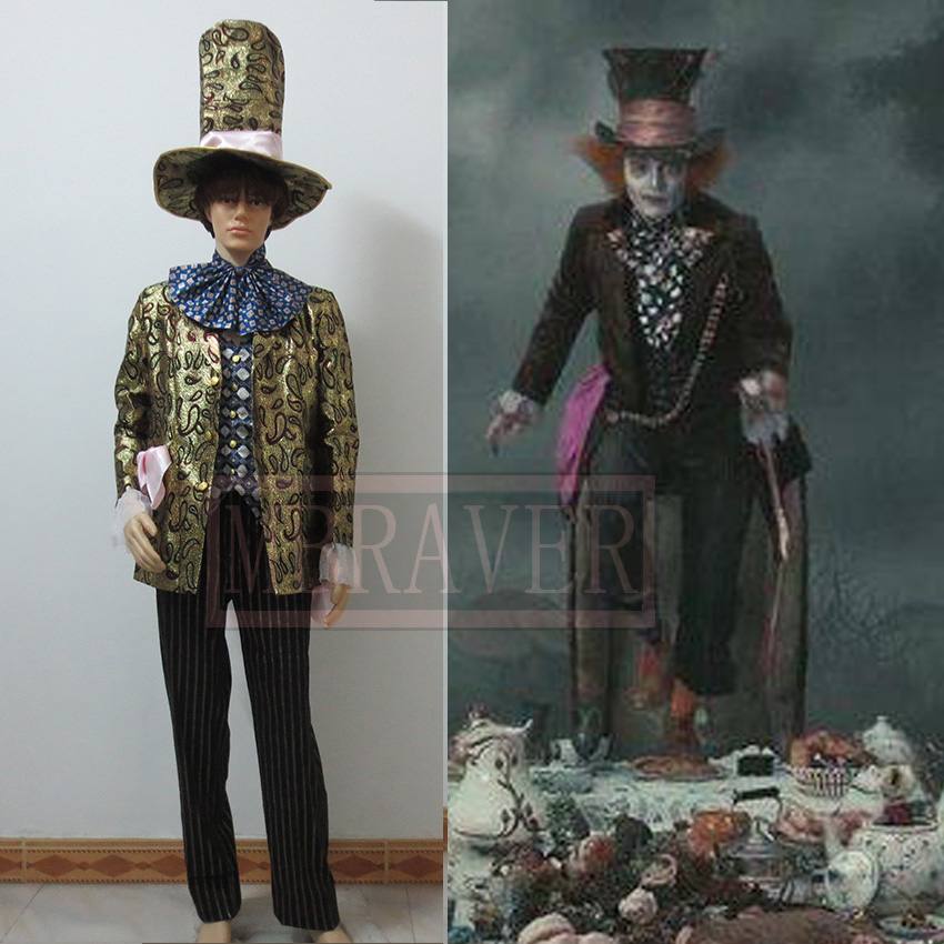 Free Shipping Alice In Wonderland Mad Hatter Costume Johnny Depp Moive Cosplay Tailor