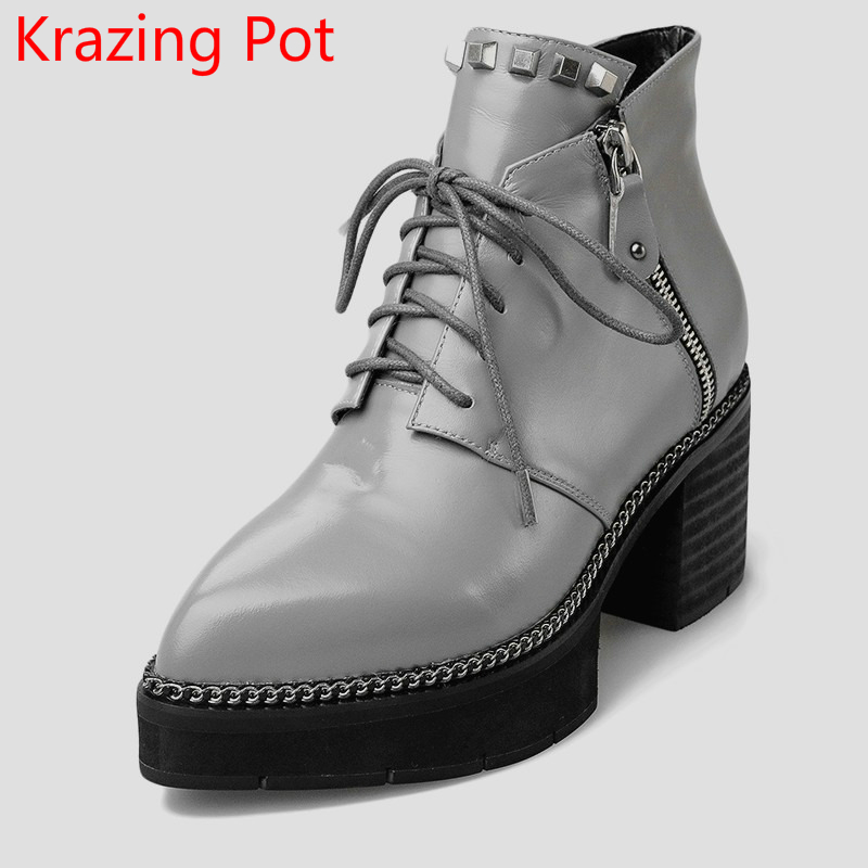 2018 Fashion Genuine Leather Rivets Large Size High Heels Platform Pointed Toe Zipper Thick Heel Handmade Women Ankle Boots L0f1 new arrival superstar genuine leather chelsea boots women round toe solid thick heel runway model nude zipper mid calf boots l63