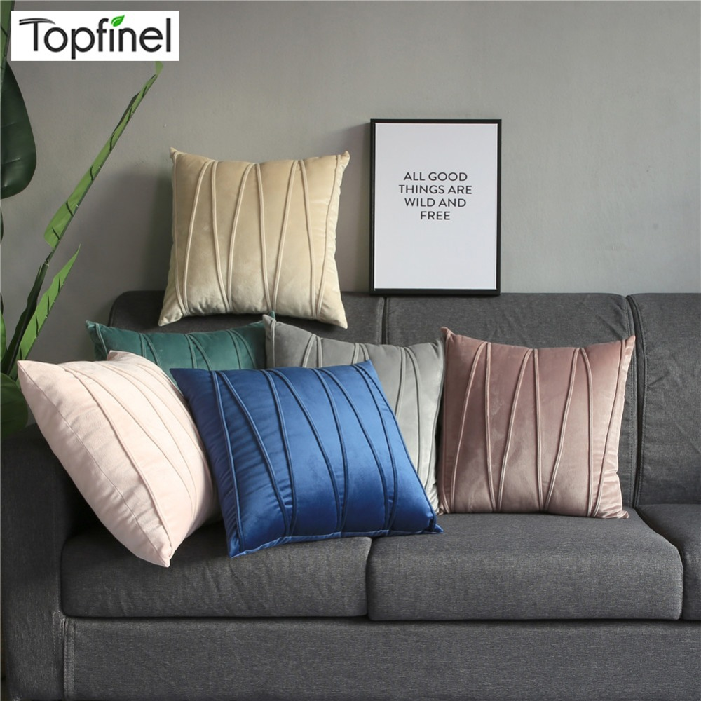 Topfinel Velvet Striped Decorative Throw Pillow Cover Cases Pillowcases Cushion Covers For Home Sofa Seat Chair 45x45cm 5 Color