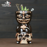 Creative Hawaii Mugs Skull Doll Tiki Mug Cocktail Cup Beer Wine Mug Ceramic Tiki Mugs Art Crafts