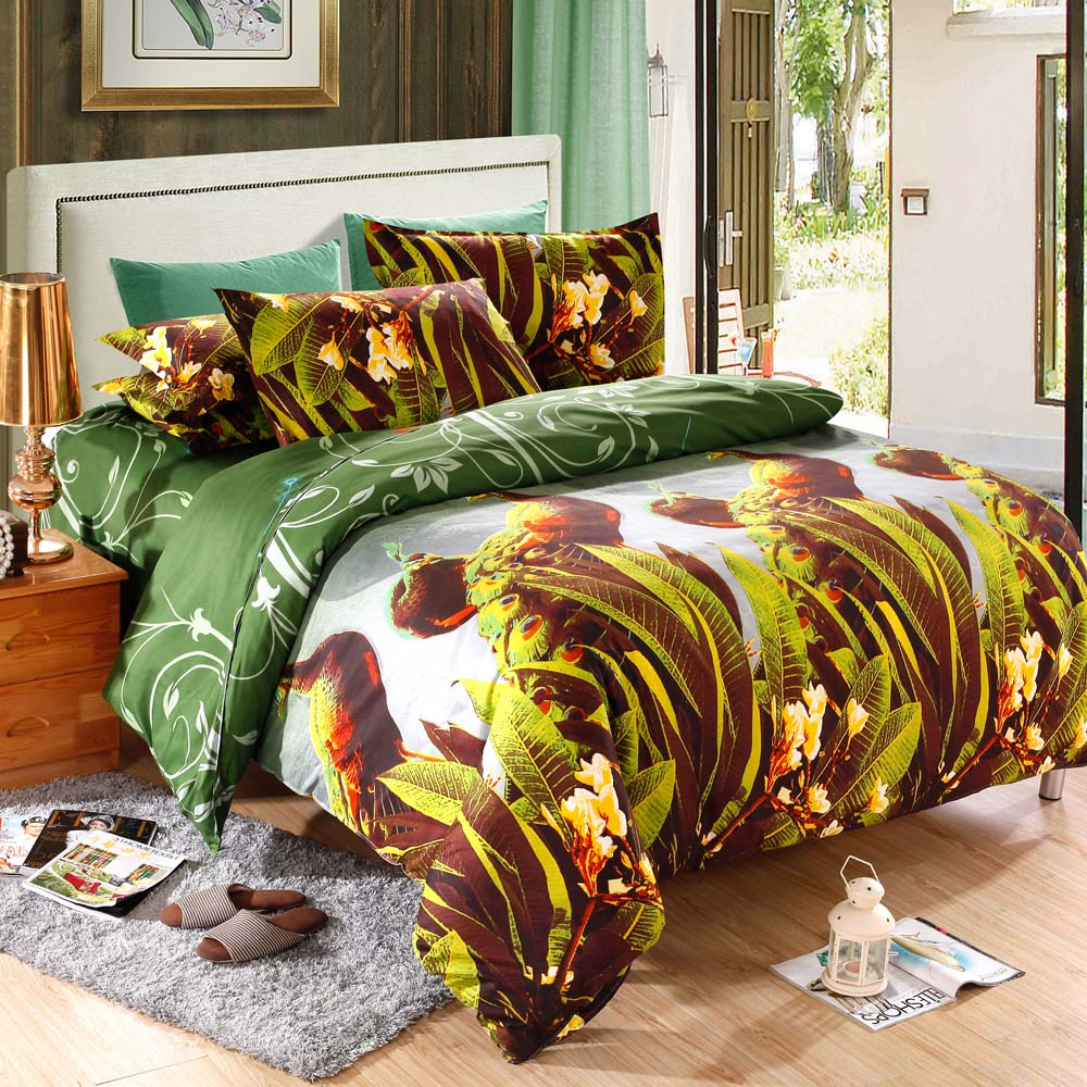 Peacock bedroom set - 4pcs Queen Size 3d Printed Bedding Set Duvet Cover Bedclothes Home Textiles Peacock Pattern Quilt Cover Bed Sheet 2 Pillowcases