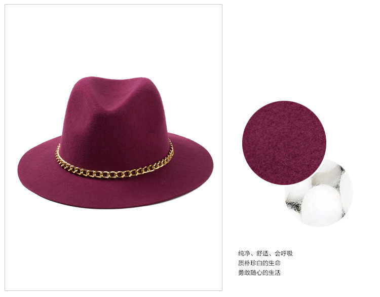 728eab8872be5 2015 New Fashionable Women 100% Wool Black Burgundy Red Fedora Hat With Gold  Chain For Ladies -in Fedoras from Apparel Accessories on Aliexpress.com ...