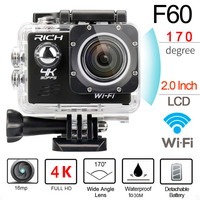 RICH 30M WIFI Action Camera 4k Remote Control Digital Sport Helmet Cam Full HD 1080p 60fps