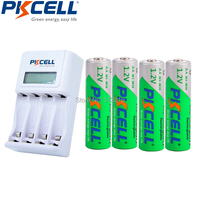 4x2200MAH Low Self Discharge 2A Rechargeable Batteries LSD 4slot EU US LCD Indicator Charger For 1to4pcs