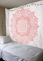 Indian Tapestry Wall Hanging Decorative Tapestries Boho Tapestry Yoga Mat Printed Lotus Pink Beach Mats Home Decor Towel White