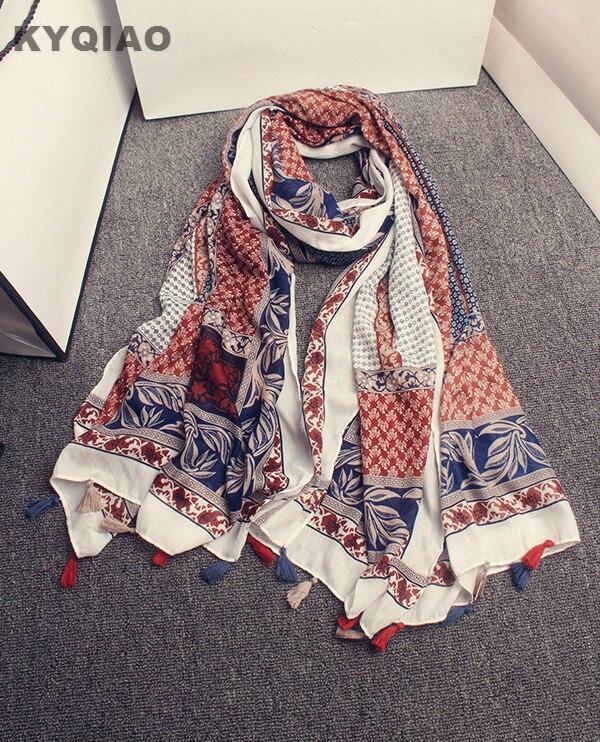 2a29e07ce Bufanda Bohemia 2017 mujeres primavera otoño España estilo Boho étnico  diseñador impresión larga bufanda del Cabo del abrigo del mantón