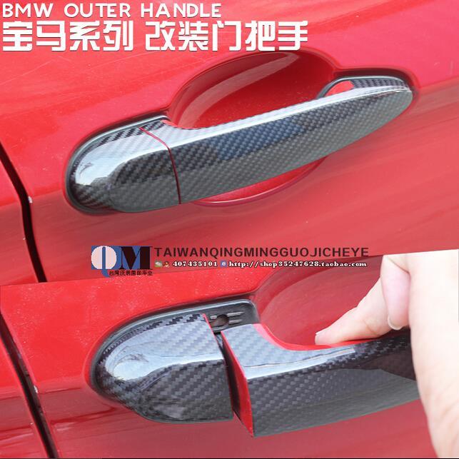 High quality carbon fiber material Plated Door Handle Car Sticker For BMW 1 2 3 3GT 4 series X1 X3 X4 X5 X6 M3 M4 X5M X6M