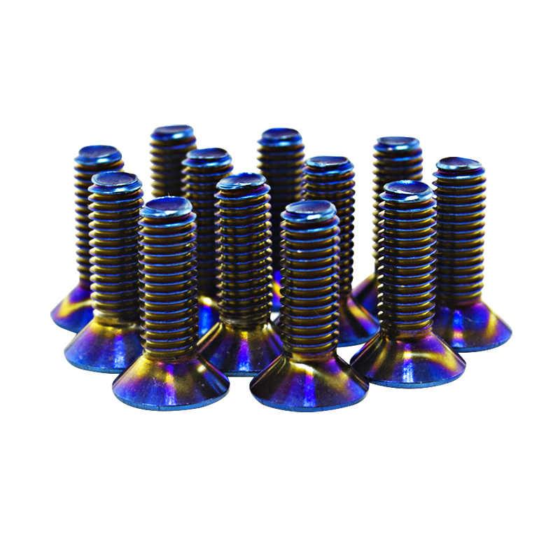 Pqy-6 Stks/partij Verbrande Titanium Stuurwiel Bouten Fit Veel Stuurwiel Werkt Bell Boss Kit PQY-LS06CR-T