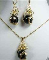 Hochwertige Schöne Schmuck wort feinstein CZ kristall Schwarzen edelstein Drachen Anhänger Halskette Ohrring set silber schmuck mujer