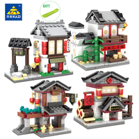 KAZI Chinese Traditional Culture Mini Street Sets Building Blocks Educational Christmas Toy For Kids Gift Compatible