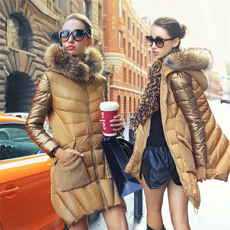 774e105e001 Women s 2018 winter luxury gold Raccoon fur collar medium long down jacket  coat slim women parka coat -in Down Coats from Women s Clothing on  Aliexpress.com ...