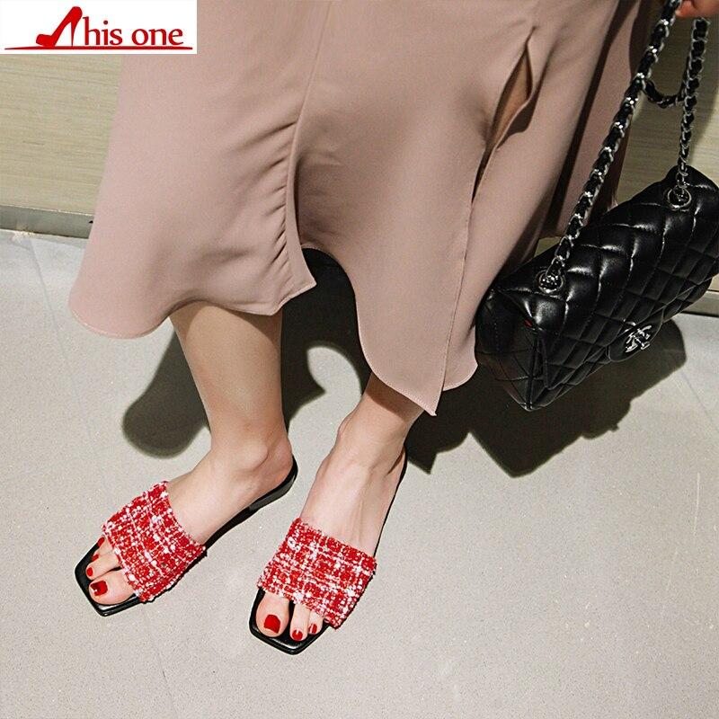 2019 nuevo verano sólido de tela plana zapatillas de interior mujeres antideslizante zapatillas de playa chanclas mujeres las diapositivas zapatos size34 48 - 3