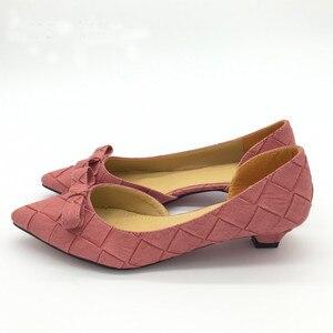 Image 3 - BEYARNE Toe Women Bowtie Pumps Spring Autumn Slip On Woman DOrsay Low Heel Pumps Shoes Ladies Spike Heels Single Shoes