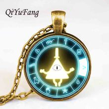 QiYuFang Pendant Drama Gravity Falls BILL CIPHER WHEEL Steampunk Necklace doctor who 1pcs/lot mens vintage 2018 antique womens