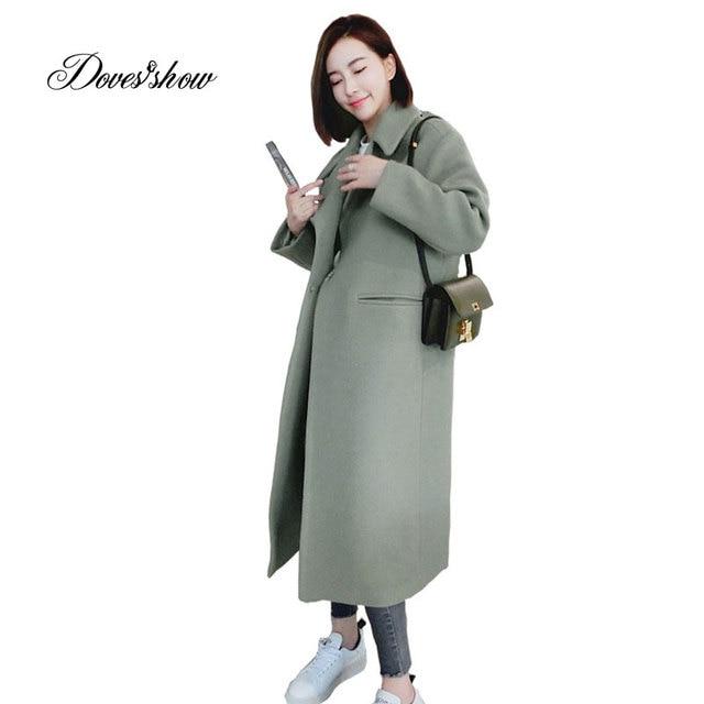 3965fe60eb Women Autumn Winter Jacket Cape Coat Calf Length Single Breasted Wool Coat  Mujer Casaco Feminino Female Jacket Blends Outwear