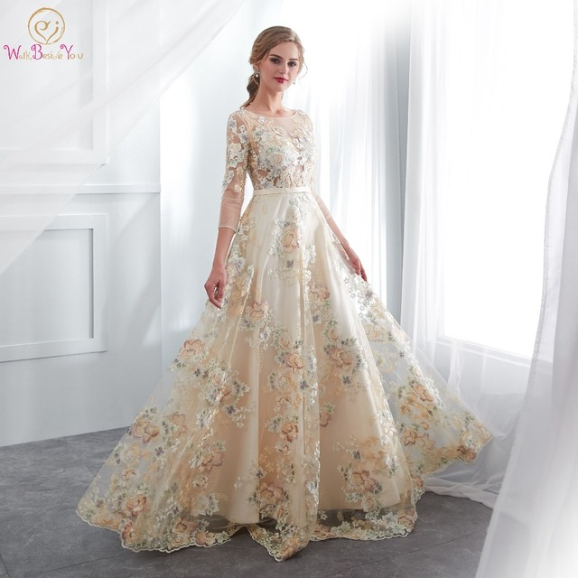 Floral Prom Dresses Walk Beside You Lace 3/4 Sleeves A-line Champagne Belt Empire Waist Long Evening Gowns Vestido De Formatura 1