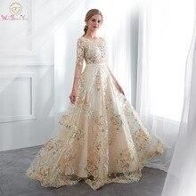 פרחוני שמלות נשף ללכת לידך תחרה 3/4 שרוולי אונליין שמפניה חגורת אימפריה מותן ארוך ערב שמלות Vestido דה Formatura