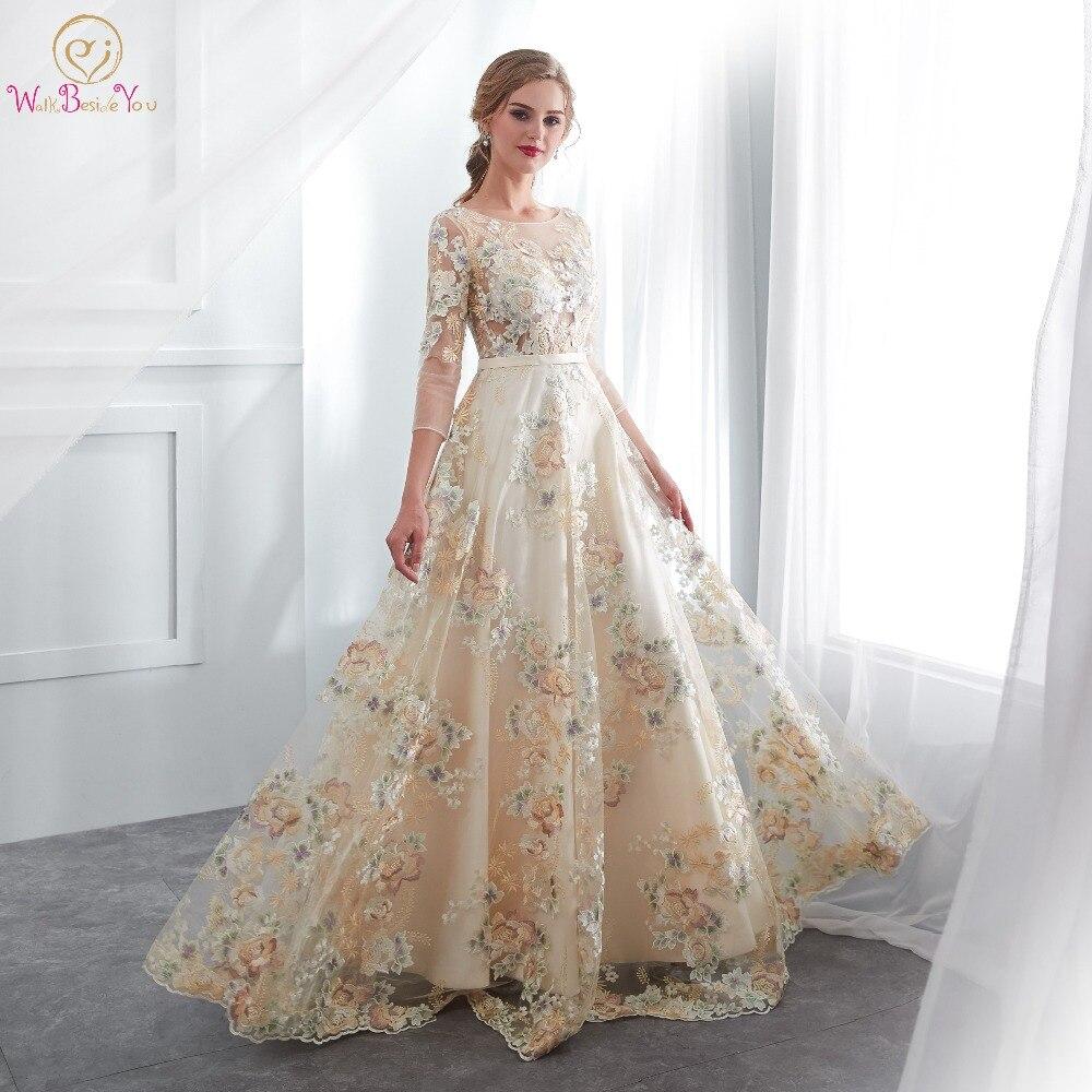 Robes De bal à fleurs marcher à côté De vous dentelle 3/4 manches a-ligne Champagne ceinture Empire taille longue robes De soirée Vestido De Formatura