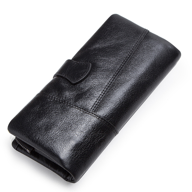 CONTACT'S genuine leather men's long wallet with phone bag zipper coin pocket purse male clutch wallets for men portfel small 3