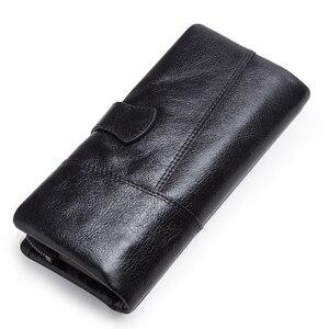 Image 4 - CONTACTS محفظة طويلة جلد أصلي للرجال مع حقيبة الهاتف سستة عملة جيب محفظة الذكور مخلب محافظ للرجال Portfel صغيرة