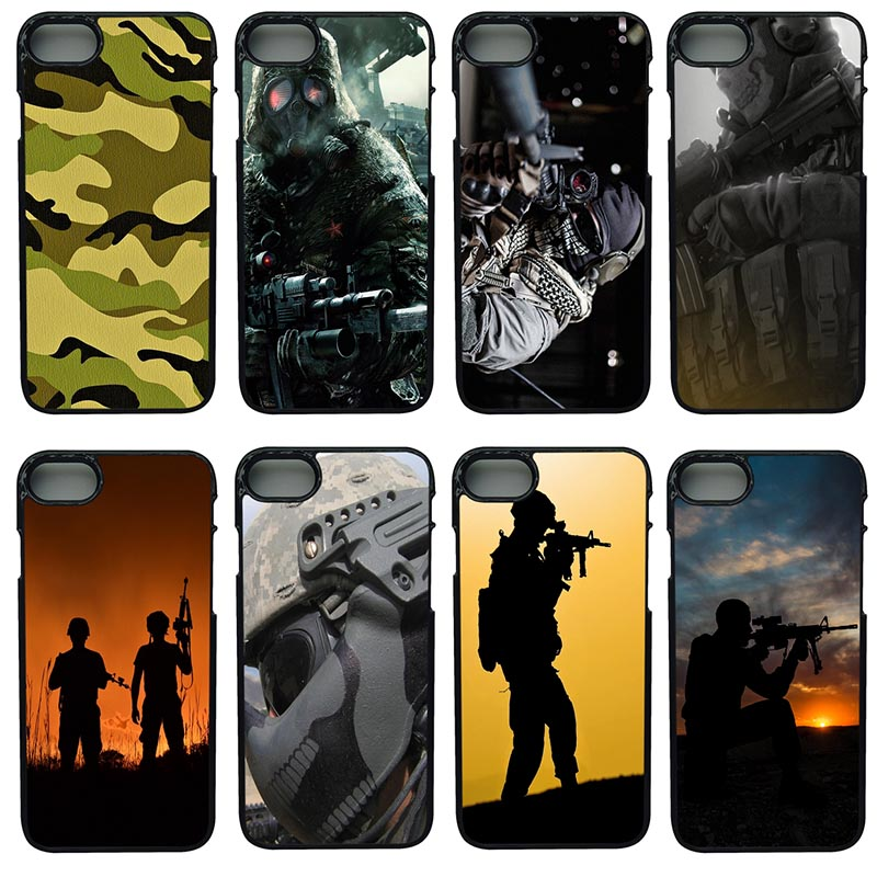 Army soldier Printed Cell Phone Case pc Hard Plastic Cover Protect for iphone 8 7 6 6S PLUS X 5S 5C 5 SE iPod Touch 4 5 6 Cases