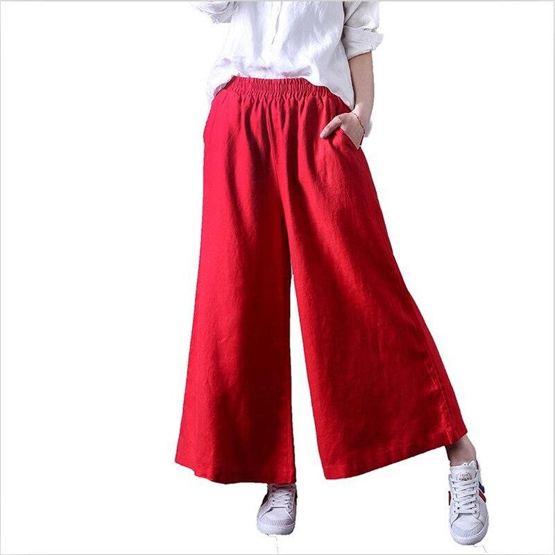 2018 spring women casual cotton   pants   high waist solid 2 color pockets ankle-length trousers   wide     leg     pants   plus size   pants